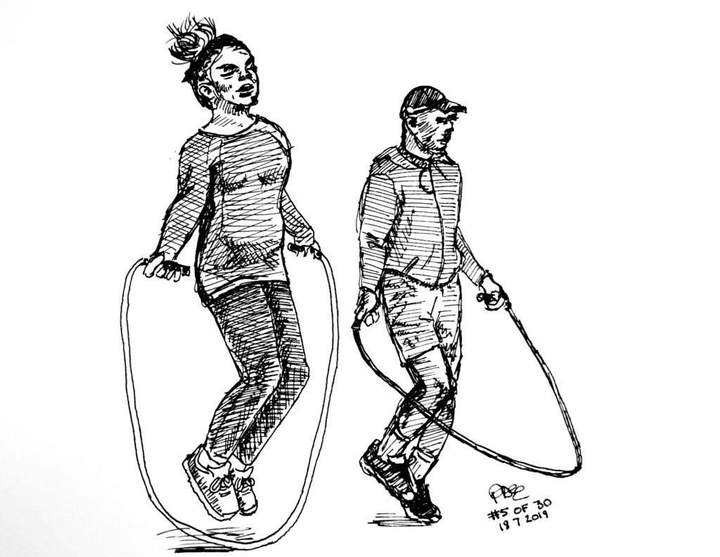 Sketch of a couple skipping