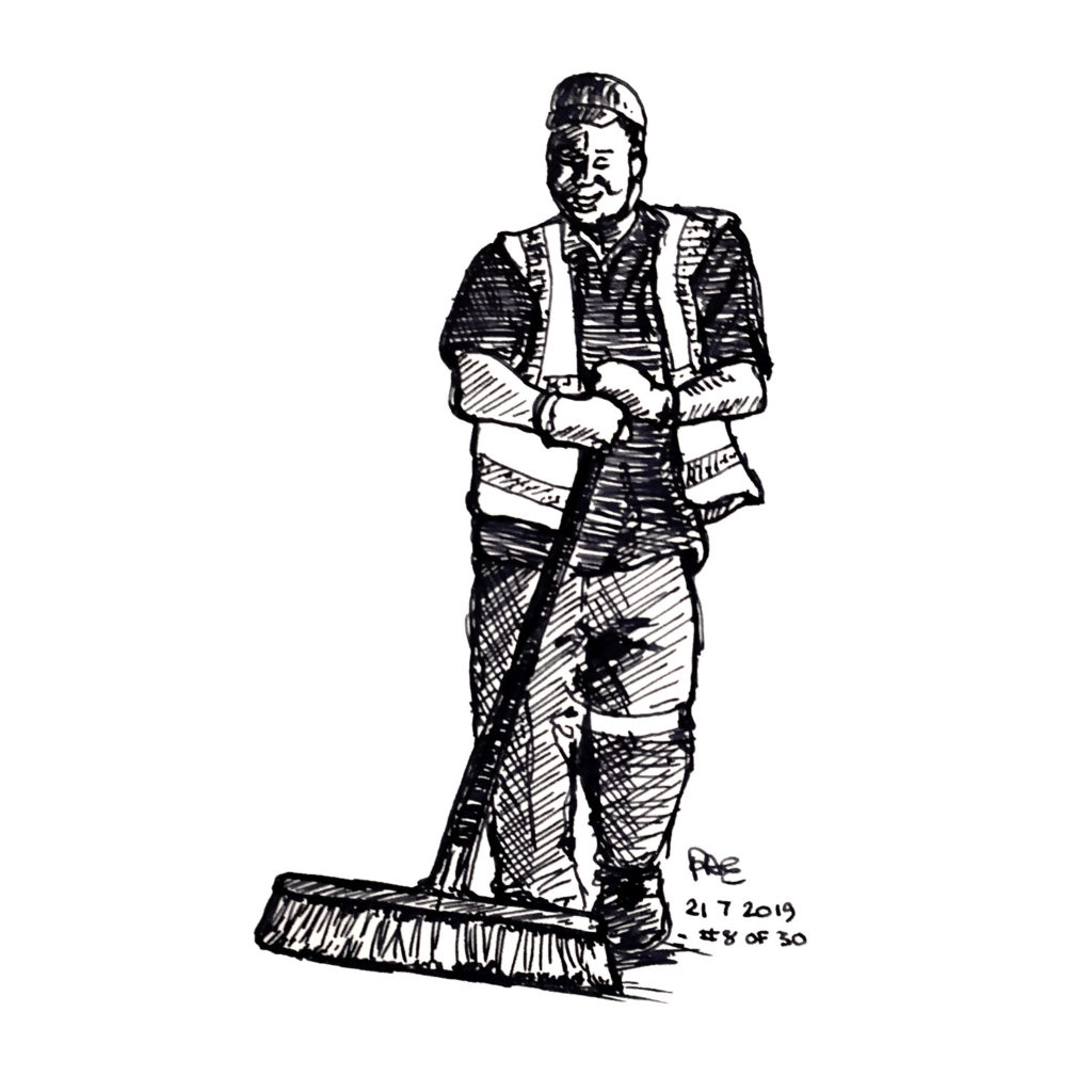 Pen and ink drawing of a man sweeping